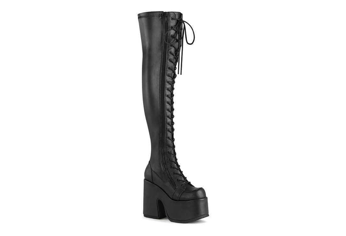 CAMEL-300 Black Thigh-High Platform Boots