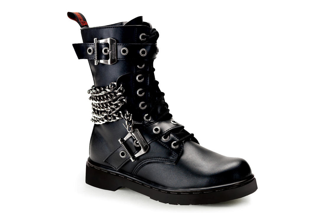 65ce238c3163 DEFIANT-204 Black Gothic Combat Boots by Demonia