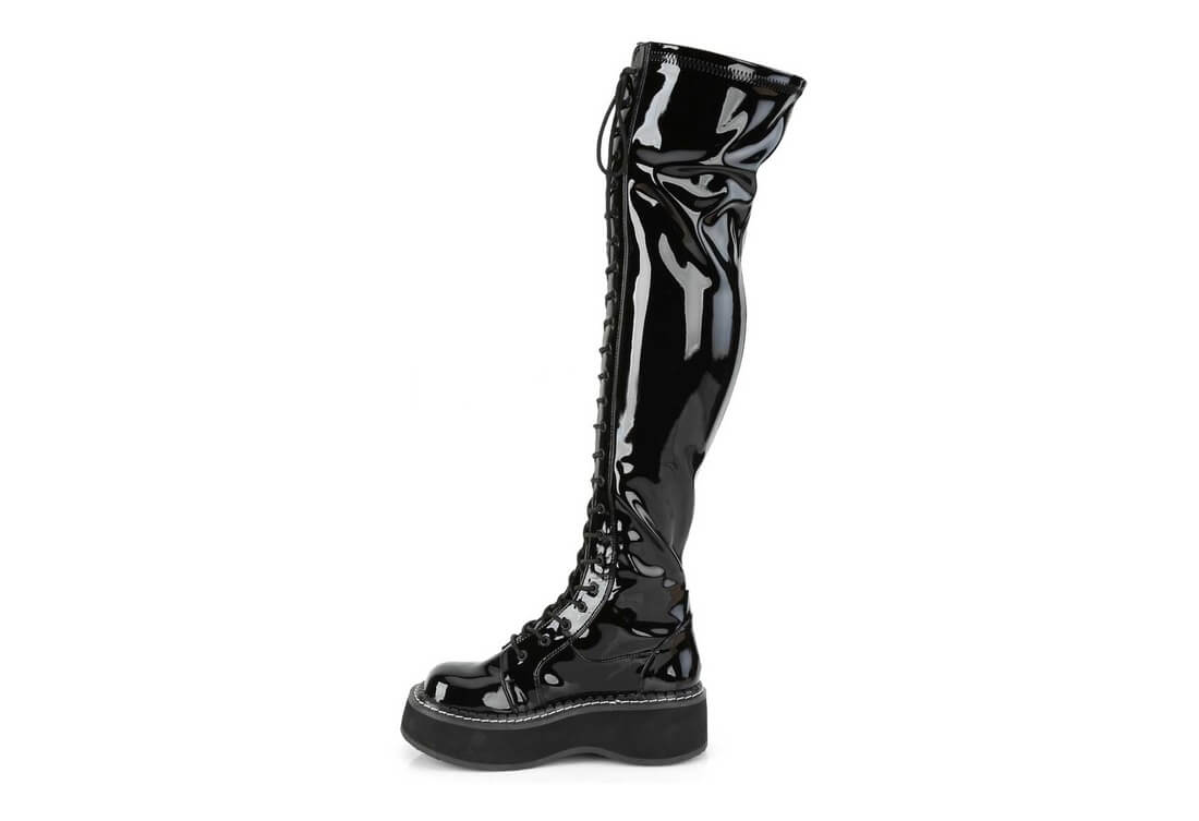 d6de3c3a356a EMILY-375 Black Patent Thigh-High Platform Boots
