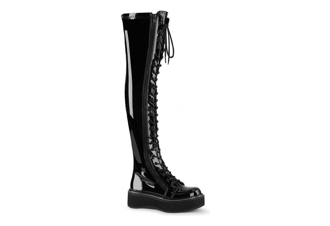 0c4f9222beb0 EMILY-375 Black Patent Boots. These beautifully shinny thigh-high platform  ...