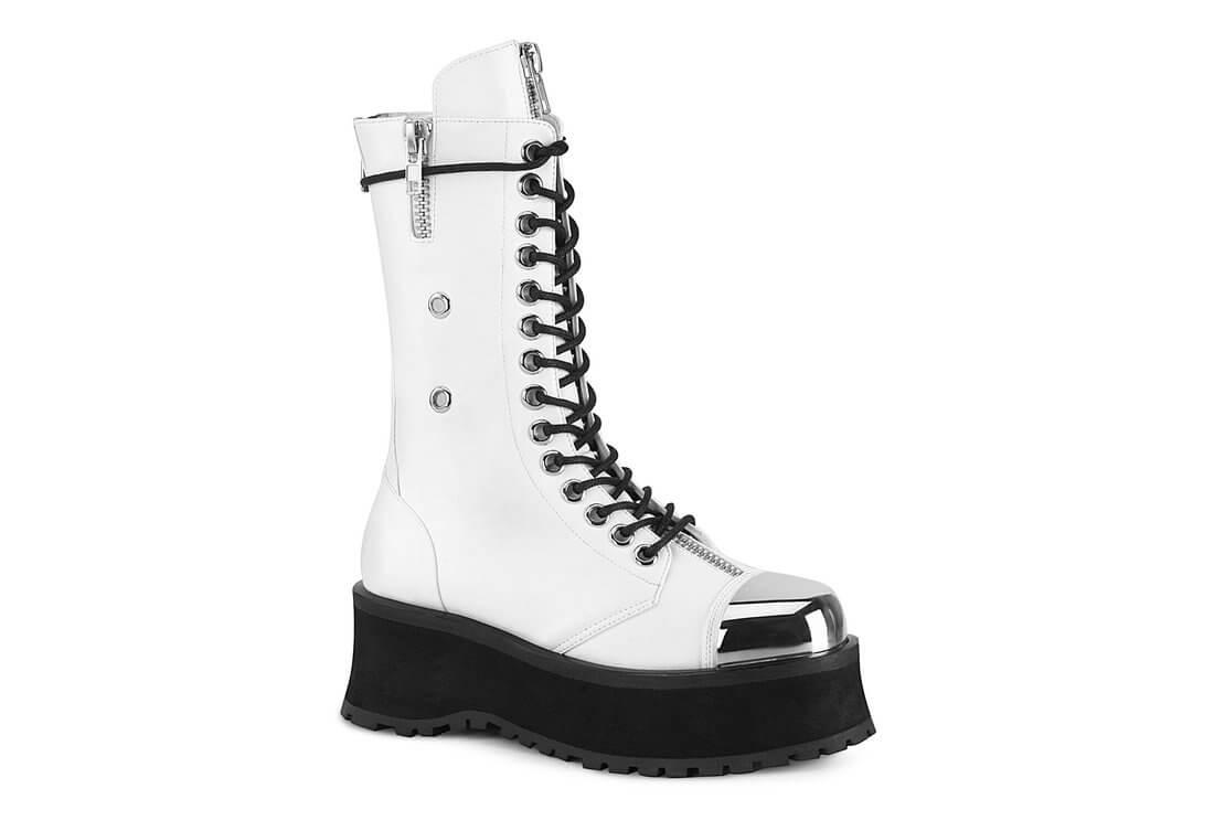 GRAVEDIGGER-14 - Men's White Platform Boots