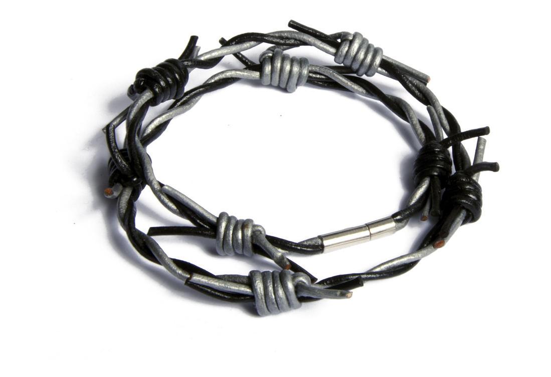 Black Grey Barbed Wire Wristband - Gothic Jewelry Bracelets