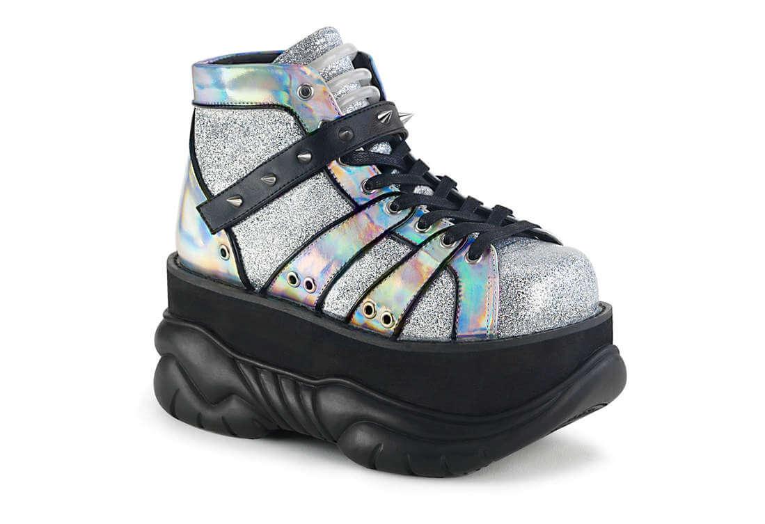 a300809c2f6 NEPTUNE-100 Silver Glitter Hologram Platform Shoes
