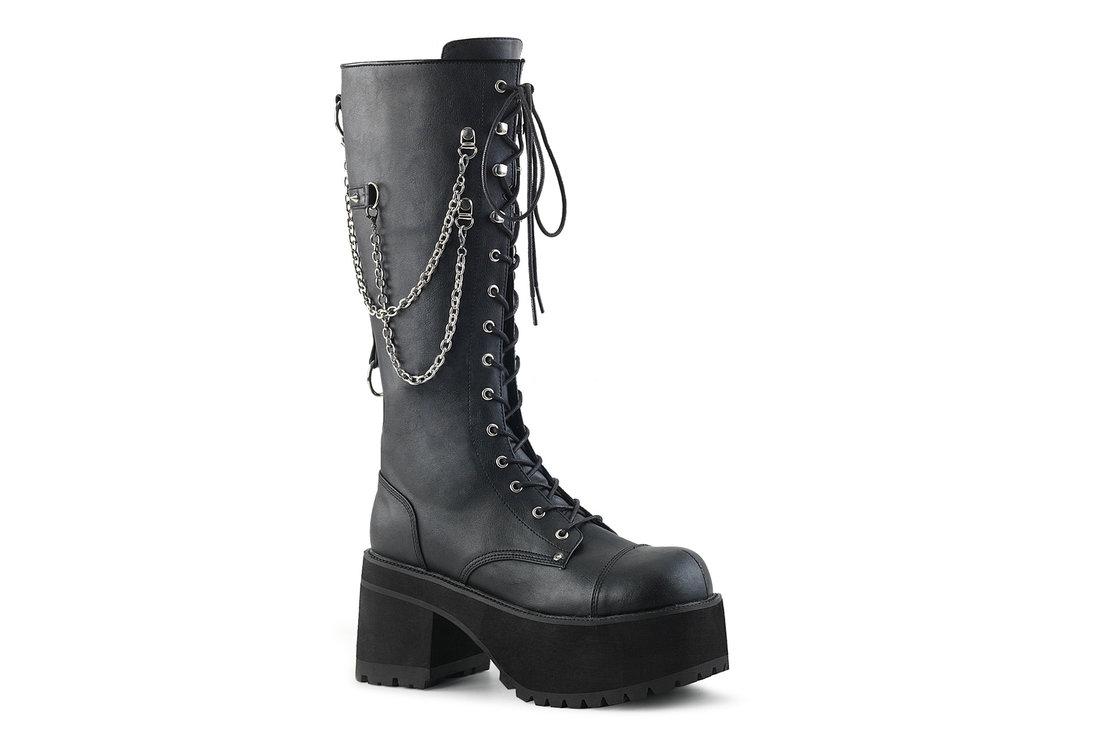 Ranger-303 black platform boots with chains