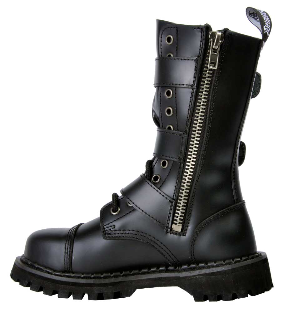 928c98b05d1 RIOT-12 Black Leather Boots with 3 buckle straps