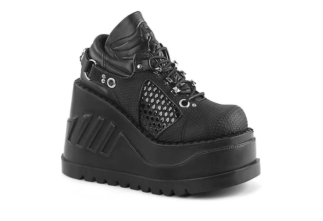 09082da6c84 STOMP-09 Womens Black Lace-up Platform Shoes