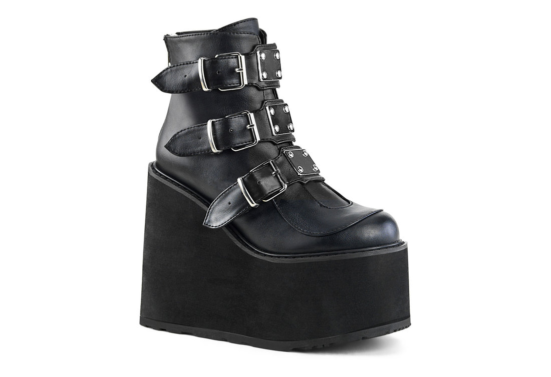 0b07f36f67d SWING-105 Women's Black Vegan Leather Boots