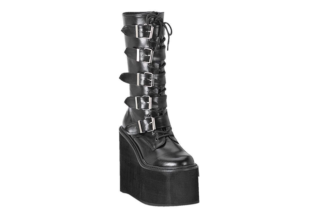 8f153aa3a22 SWING-220 Black PU Boots. Hover to zoom